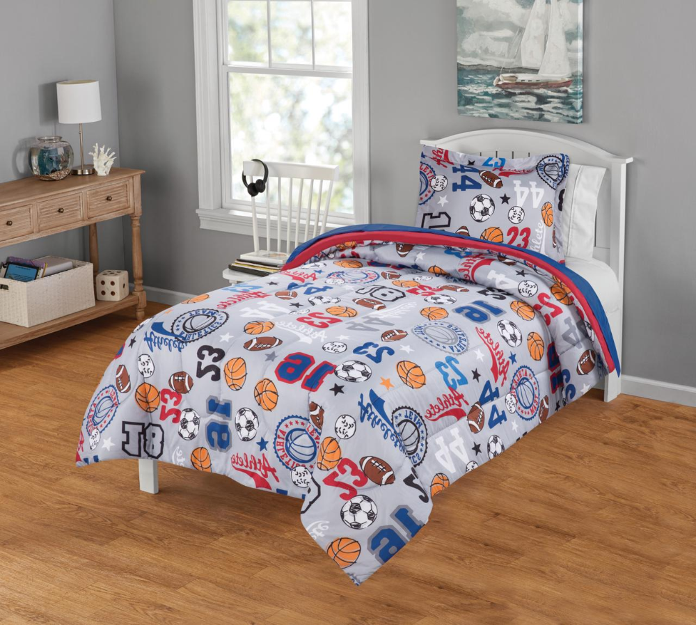 Your Zone Sports Bed In A Bag Coordinating Bedding Set Walmart Com Sports Bedding Bedding Set Blue Sheet Sets