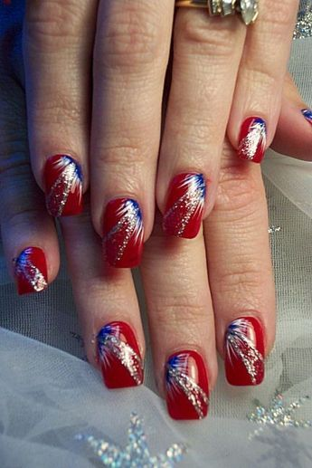 4th Of July Nails Red Nails With Blue White Fan Brush Accents Silver Glitter Free Hand Nail