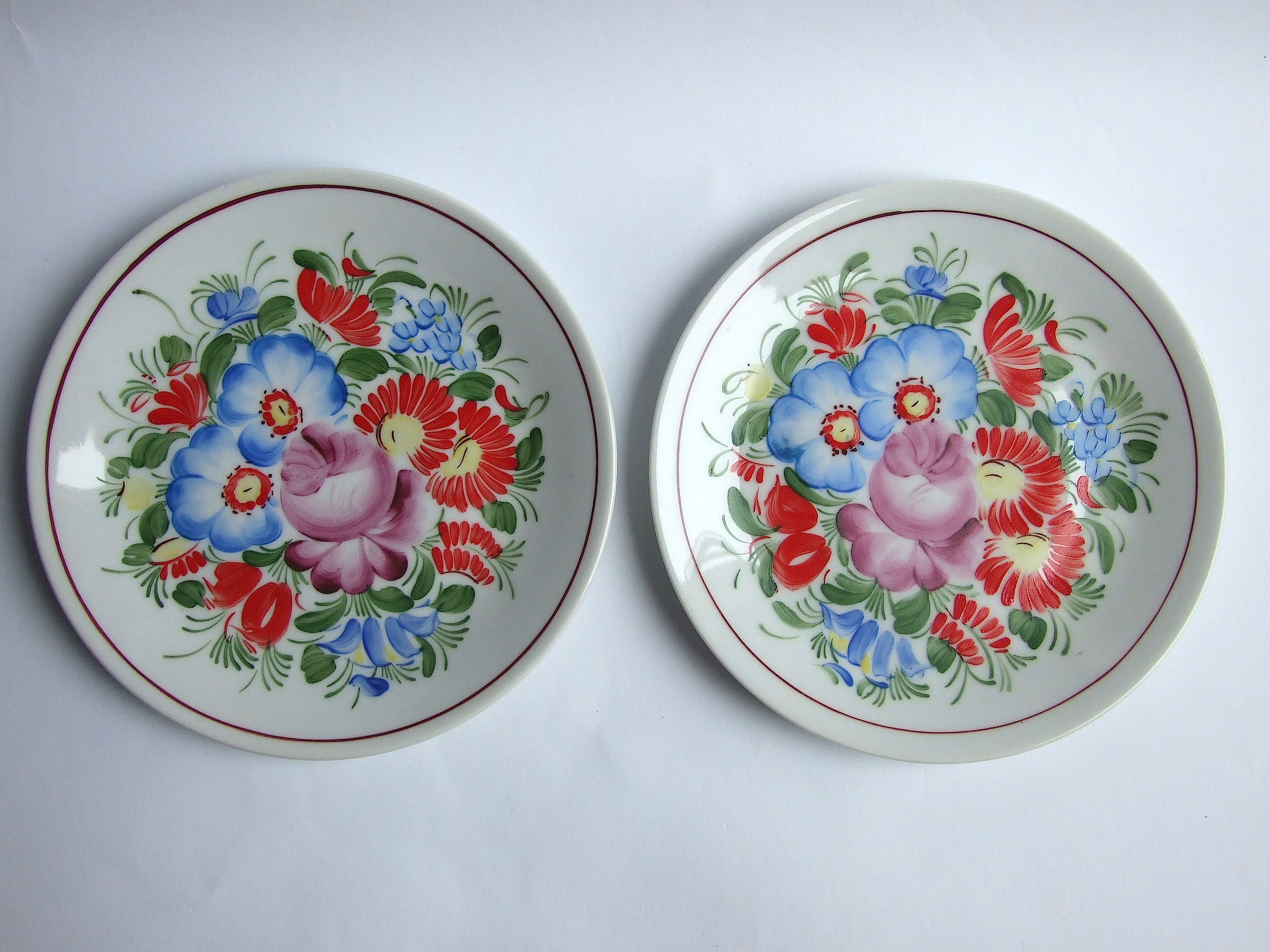 Bohemian porcelain Wall Plate Czech pottery Floral Plate ...