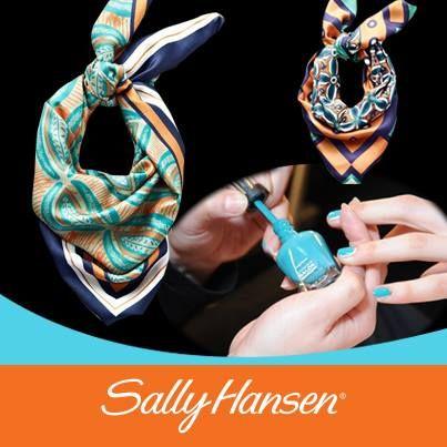 Integra mascadas con diseños marineros a tu outfit con los alguno de los tonos azules de Sally Hansen. #Fashionistas