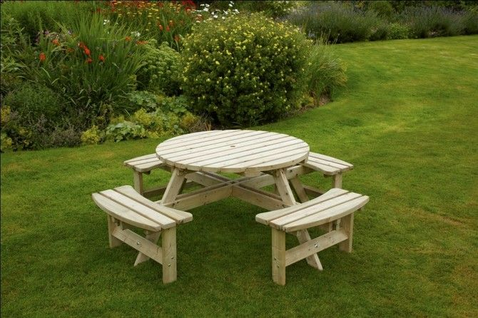 Devon 8 Seater Round Picnic Table (With images) | Wooden ...