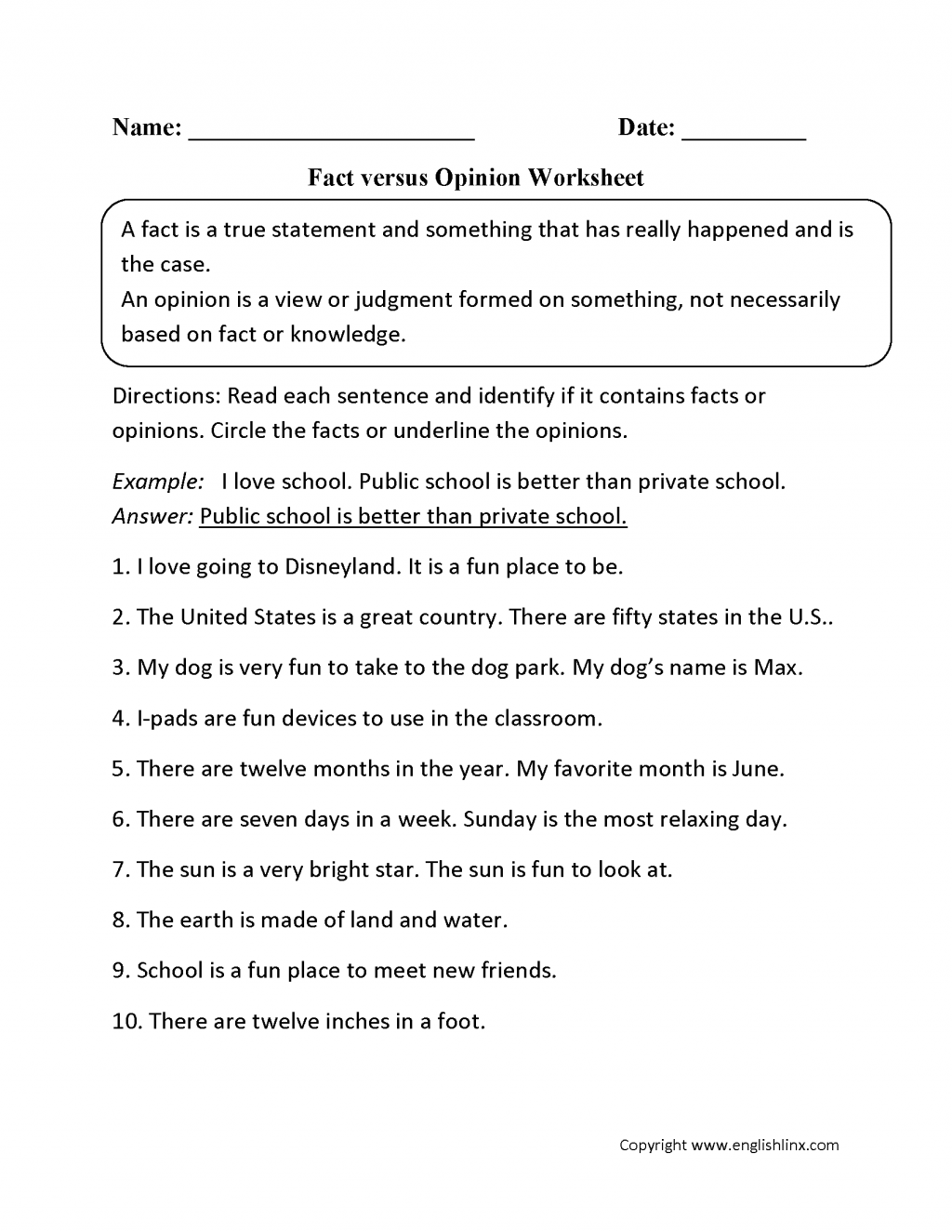 Fact And Opinion Worksheets To Free Download Fact And