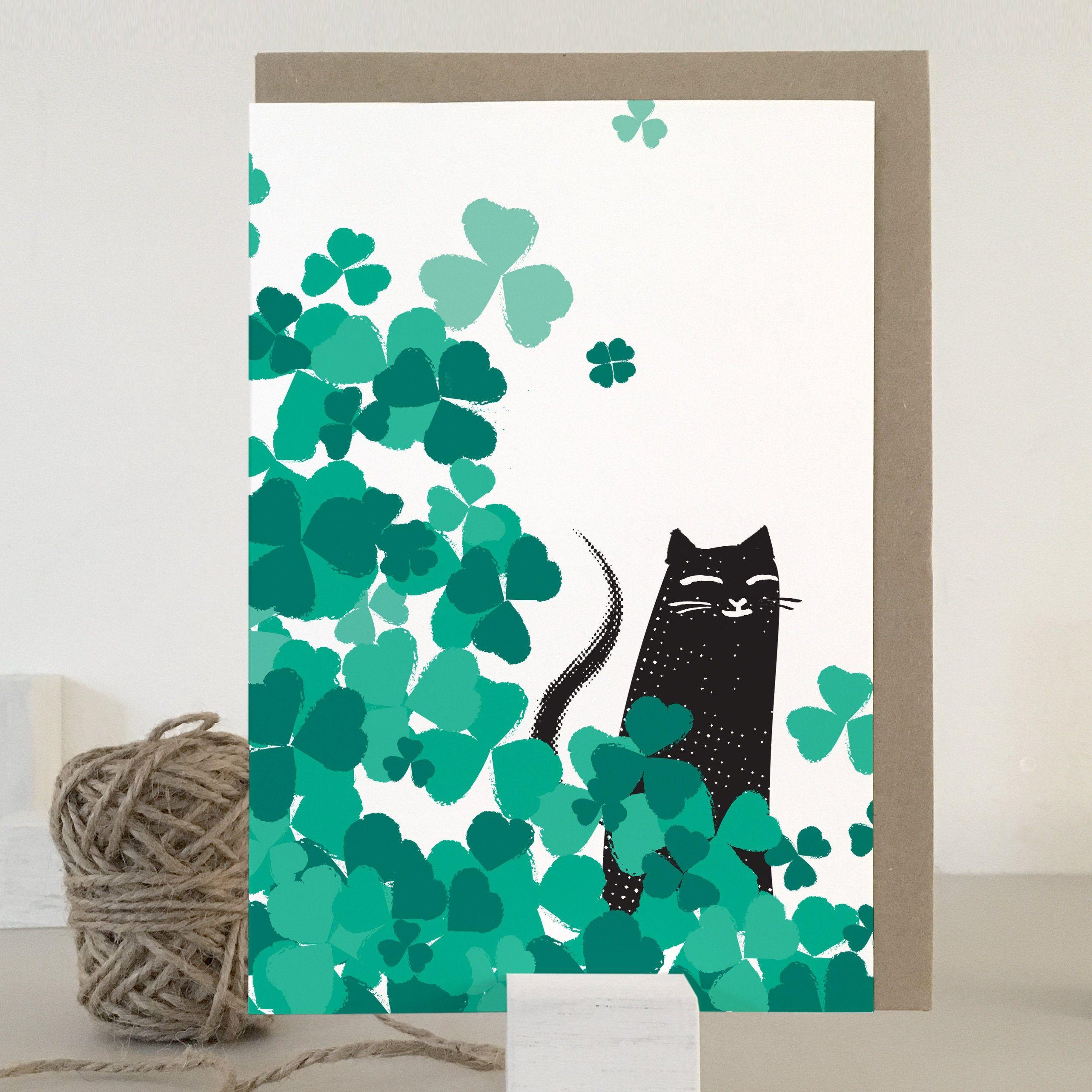 Black cat good luck card etsy cat cards black cat