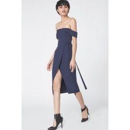 Wrap Front Bardot Dress in Navy