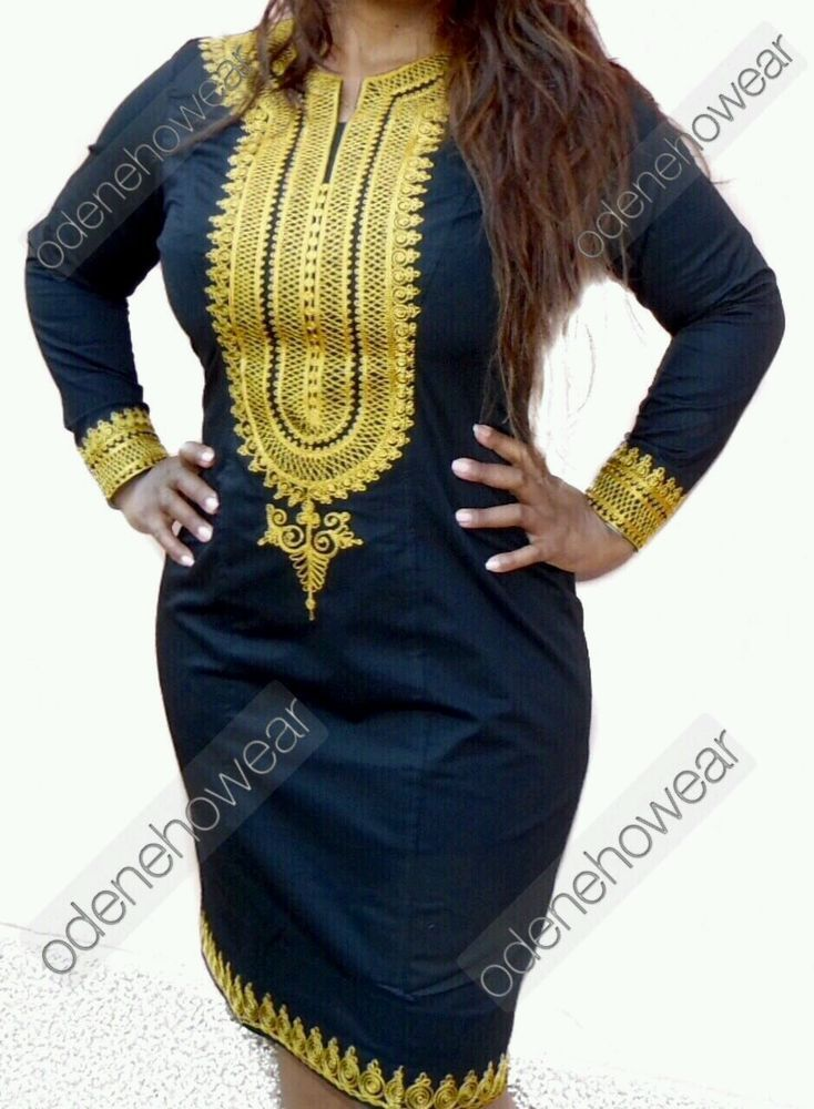 Details about Odeneho Wear Ladies Black Polished Cotton Dress/ Embroidery.African Clothing