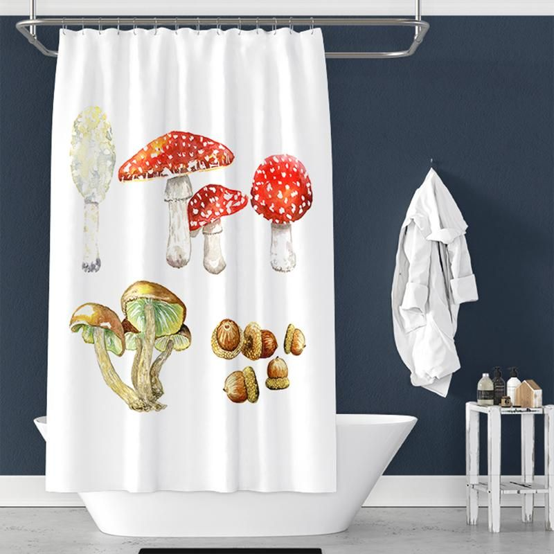 Mushroom Pattern Shower Curtain Home Decor Patterned Shower