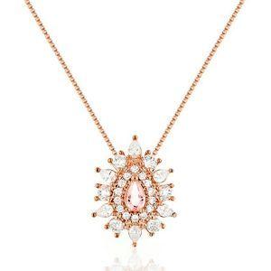 Colar Pingente Gota Semijoia em Ouro Rosé 18K com Zircônia Branca e Cristal  Rosa Safira ae2038c1b2