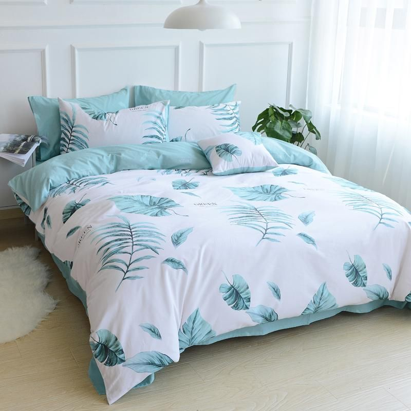 Bedding Double Sided Quilt Cover Set 100 Cotton Blue