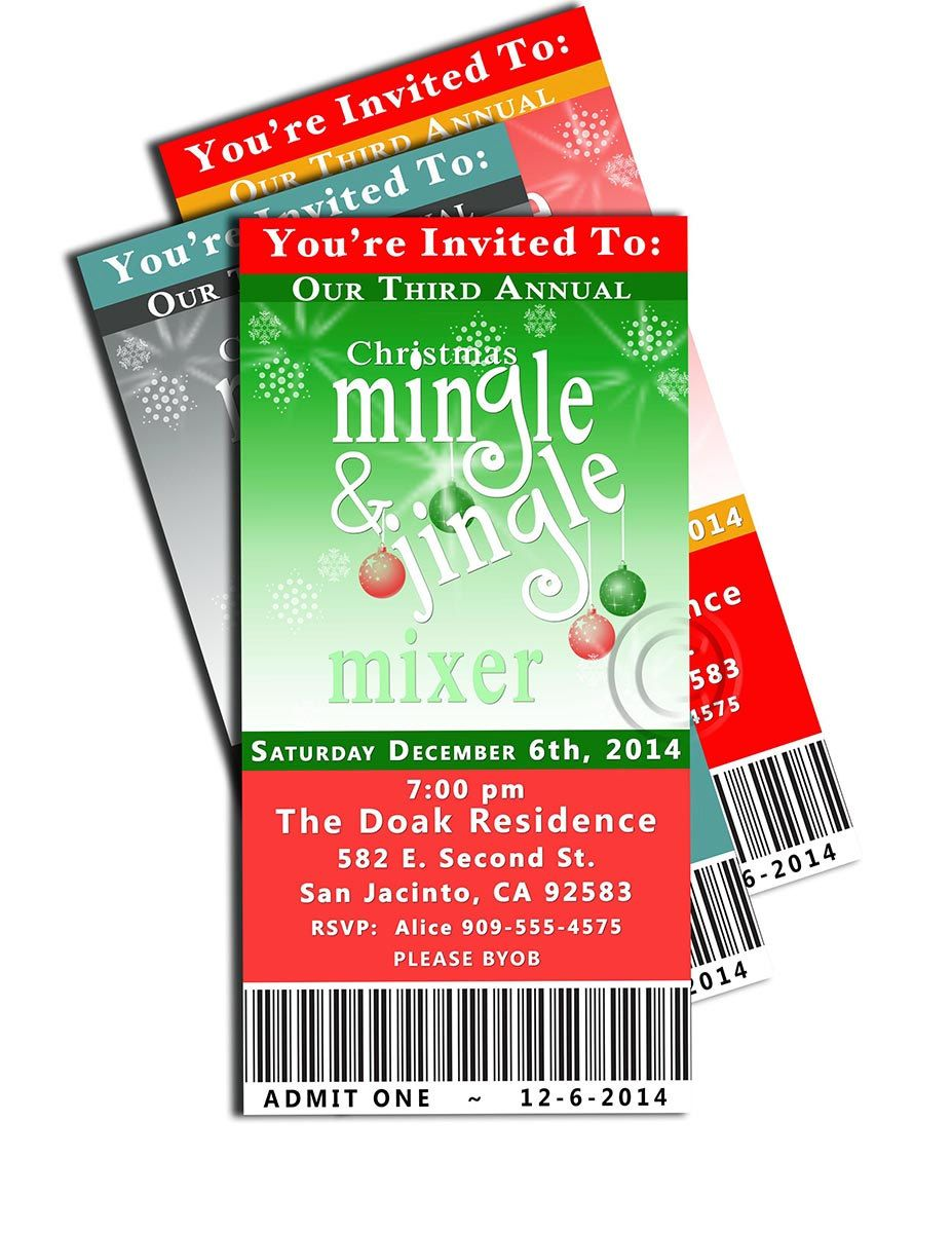 Party Ticket Invitations Holidaychristmasnew Years Party Ticket Invitation  Holiday .