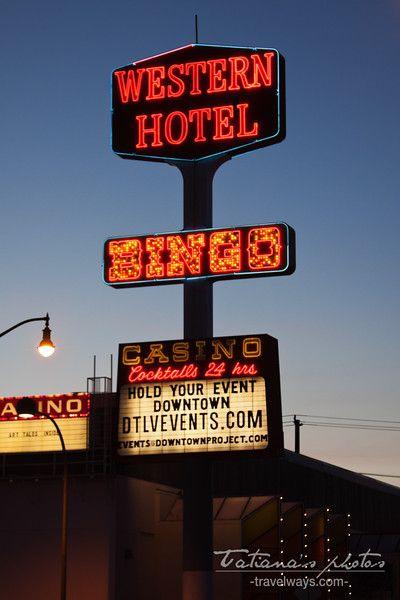 Western Hotel Neon Sign At Night On Fremont Street Las Vegas Boulderinn