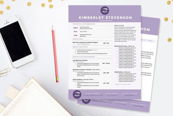 crisp purple resume template package template business resume and