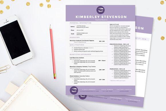 crisp purple resume template package pinterest template