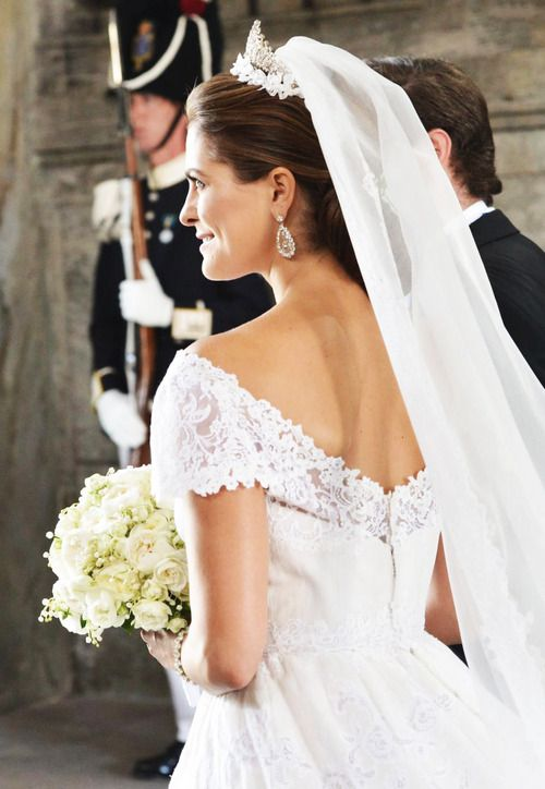 Princess Madeleine of Sweden\'s wedding dress from the back | Wedding ...