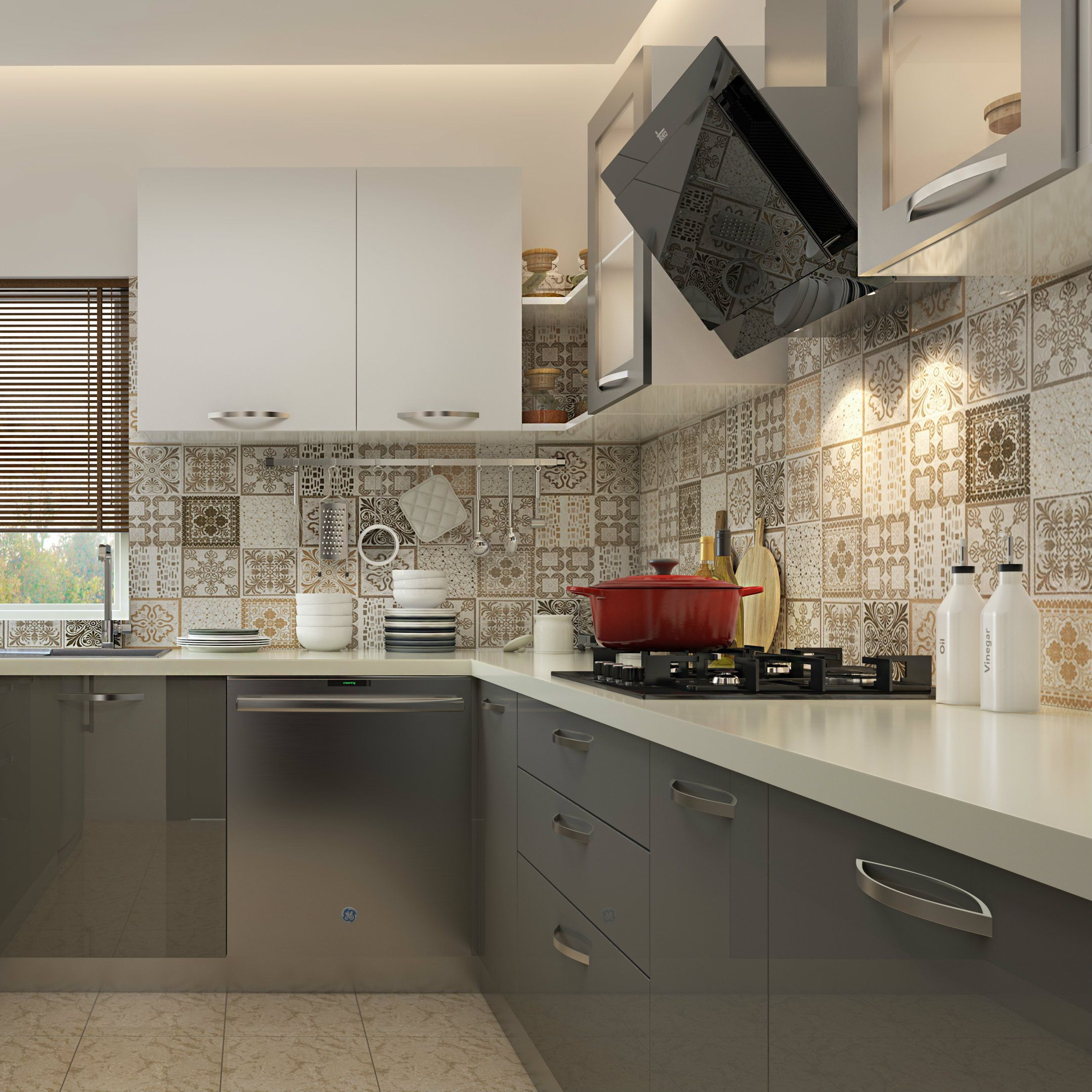 A simple modular kitchen that employs cool neutral hues ...