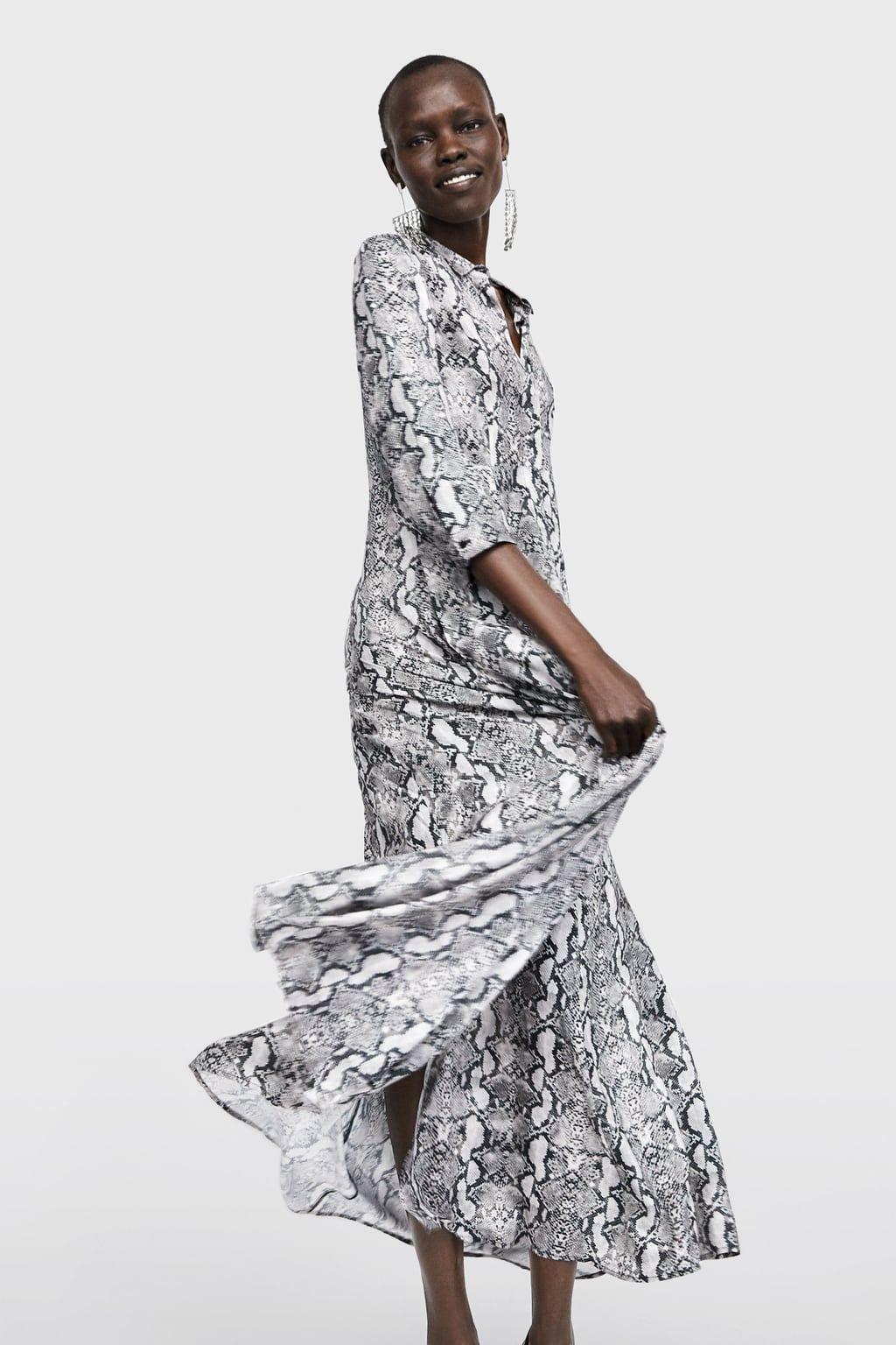 b04dc441 Image 2 of SNAKESKIN PRINTED SHIRT DRESS from Zara | Winter Looks ...