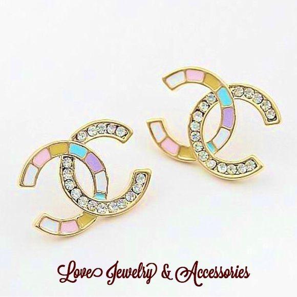 Designer C Logo Colorful Stud Earrings Boutique Colorful Stud