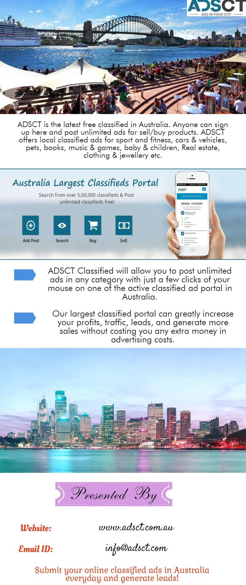 ADSCT is the top latest free classifieds sites in Australia ...