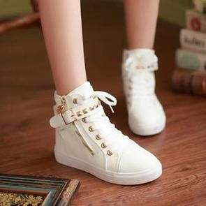 Hot White Straps Studs Sneakers Canvas Shoes SD02310  d7d31adcd681b