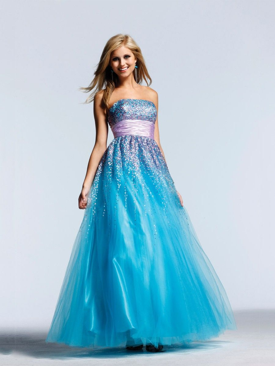 Alineprincess blue strapless open back long cheap prom dress with