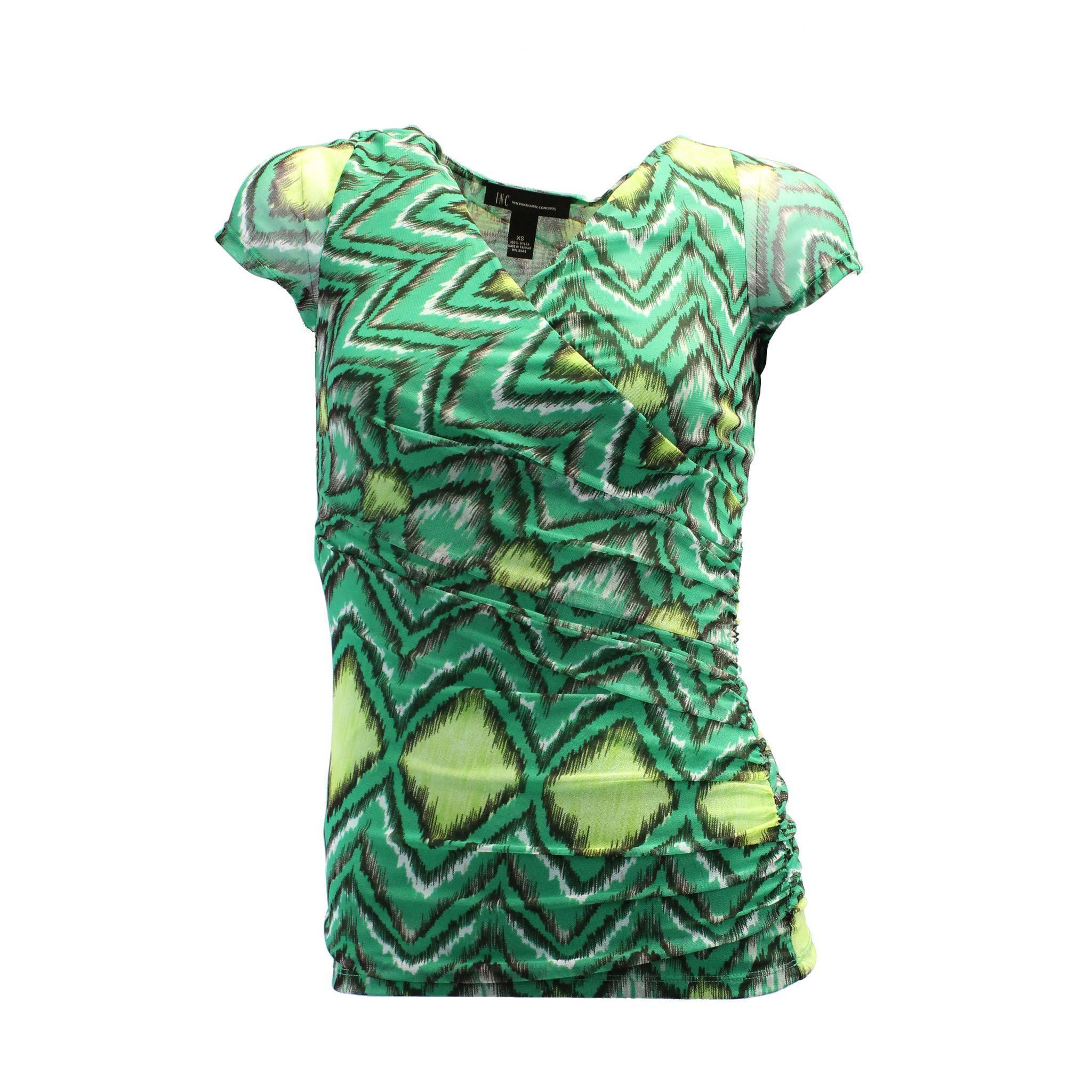 INC International Concepts Women's Blouse Short Sleeve Cowl X-small Green