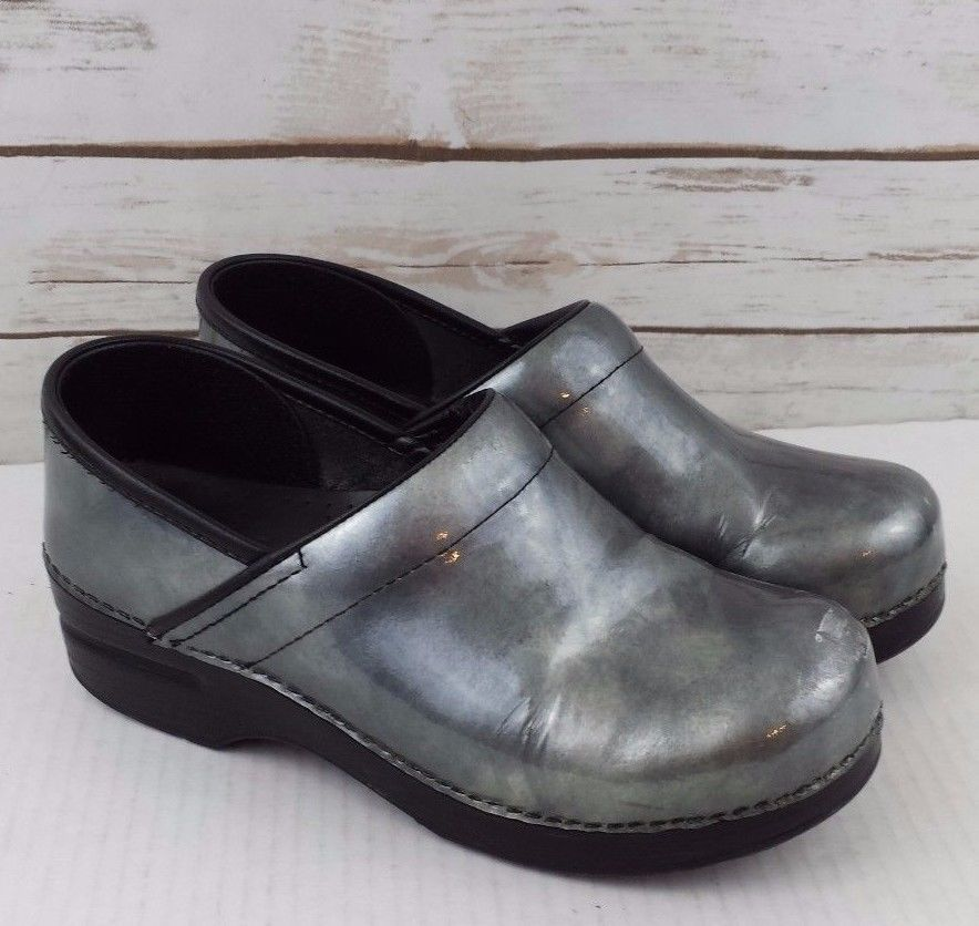 a04c81b8db75 Dansko Pro Gray Silver Patent Leather Clog Metallic Professional Size 38 US  8 #Dansko #Clogs #WeartoWork