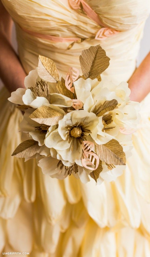 Make Your Own Crepe Paper Wedding Bouquet With This Stunning Pattern And Tutorial From Handcrafted Lifestyle Designer Lia Griffith