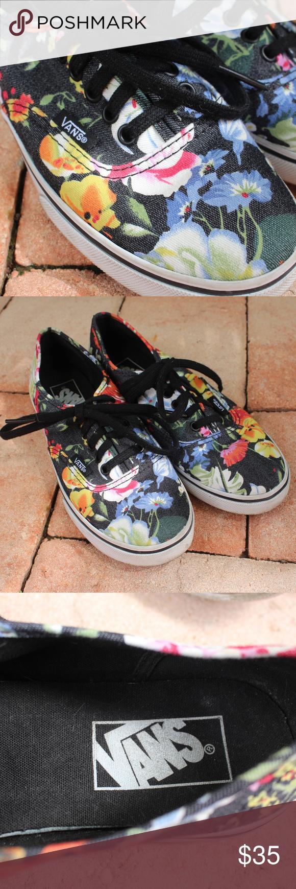 ef60971a3d Black Floral Vans 🌿Pre-owned Floral Vans Shoes 🌿 Size  Woman s US 6    Men s US 4.5 Color  Black w  Colorful Flowers Style  Authentic Vans  Condition  Great ...