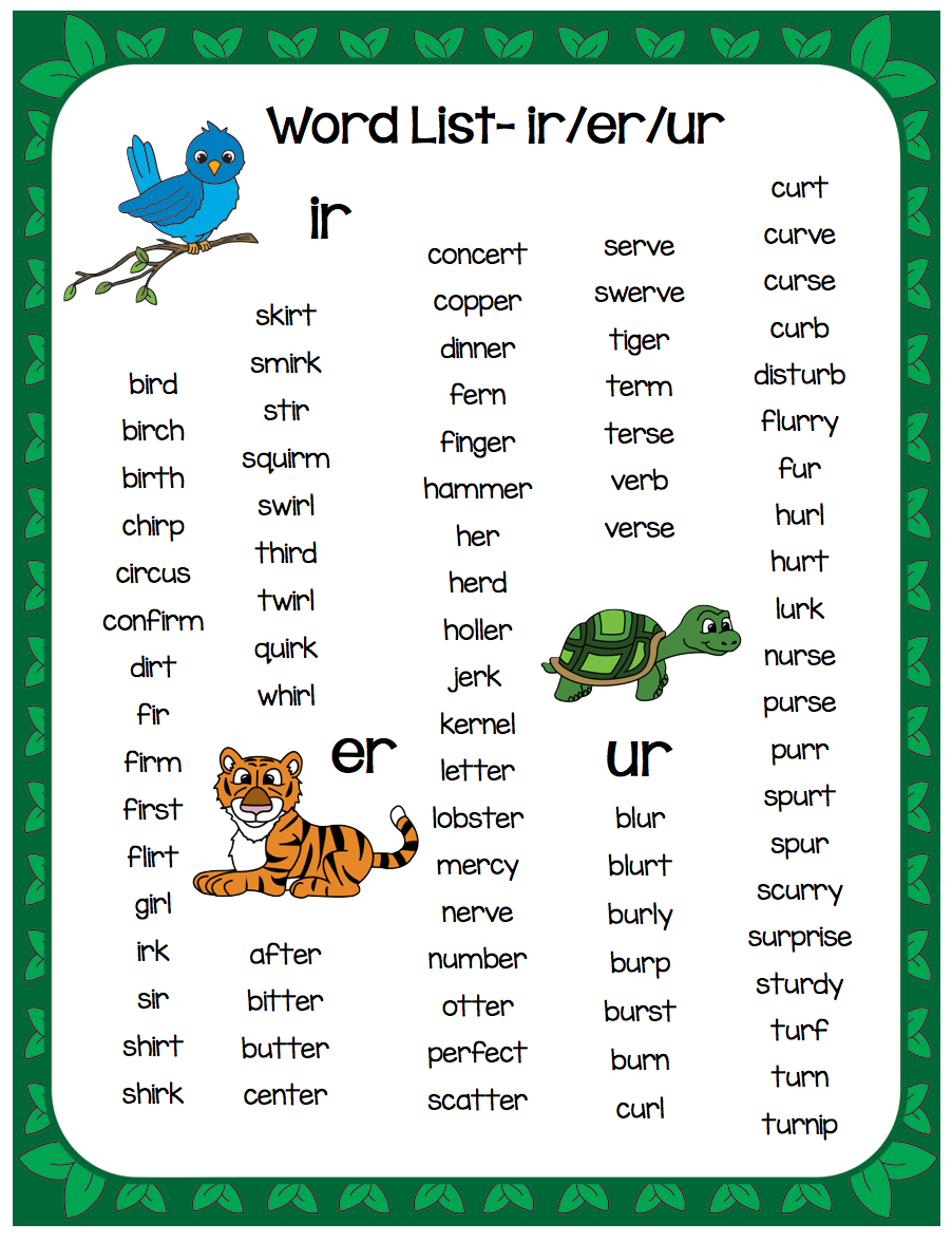 worksheet R Controlled Worksheets r controlled vowels word list and sound charts pinterest list
