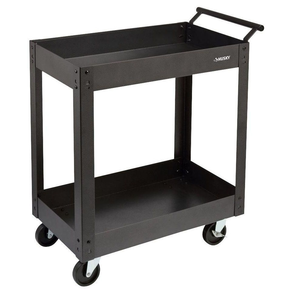 Husky Steel Metal 2 Shelf Rolling Utility Service Tool Warehouse