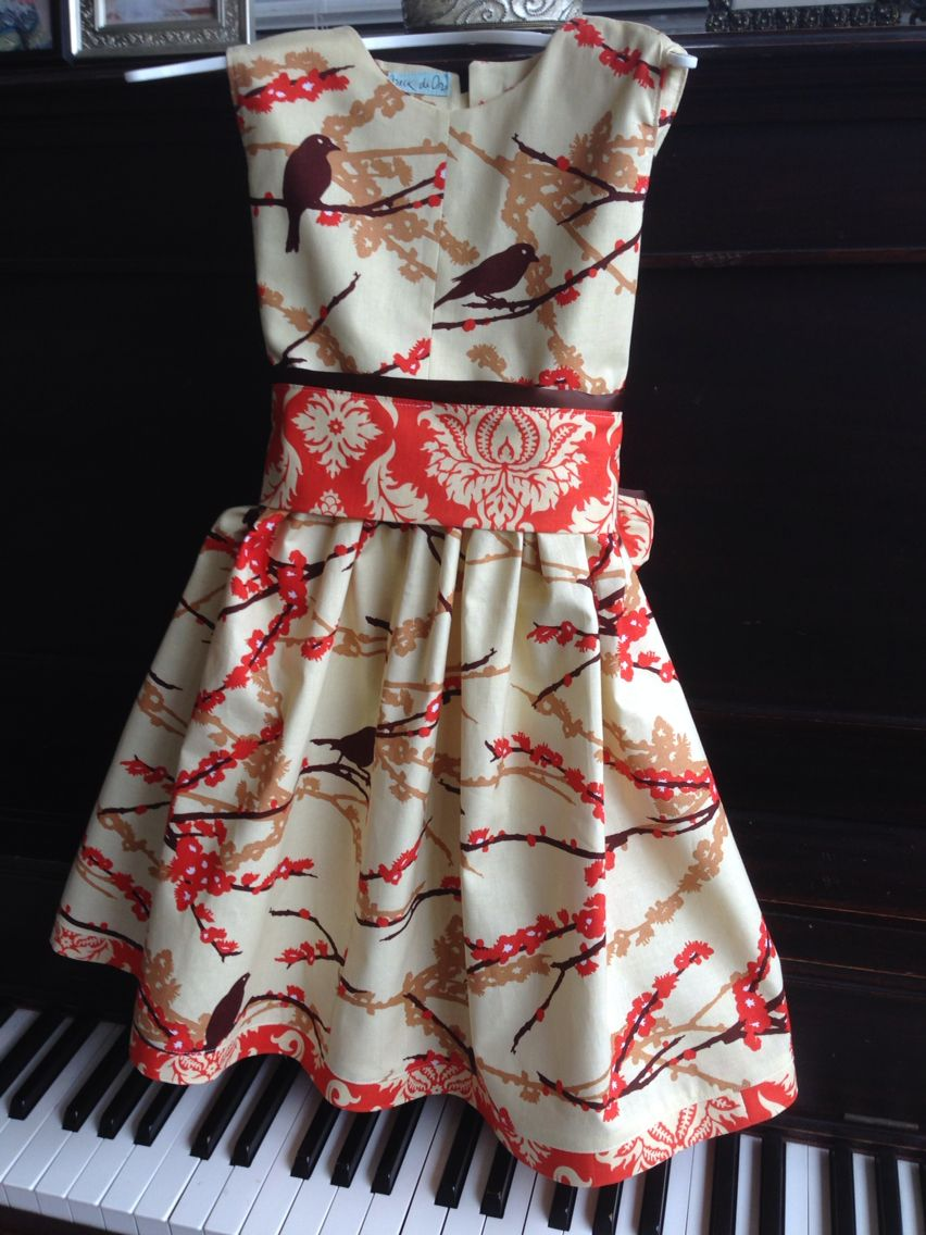 Thanksgiving Dress for Nevie (pattern is The Cottage Mama Party Dress; fabric is all Joel Dewberry Aviary 2)