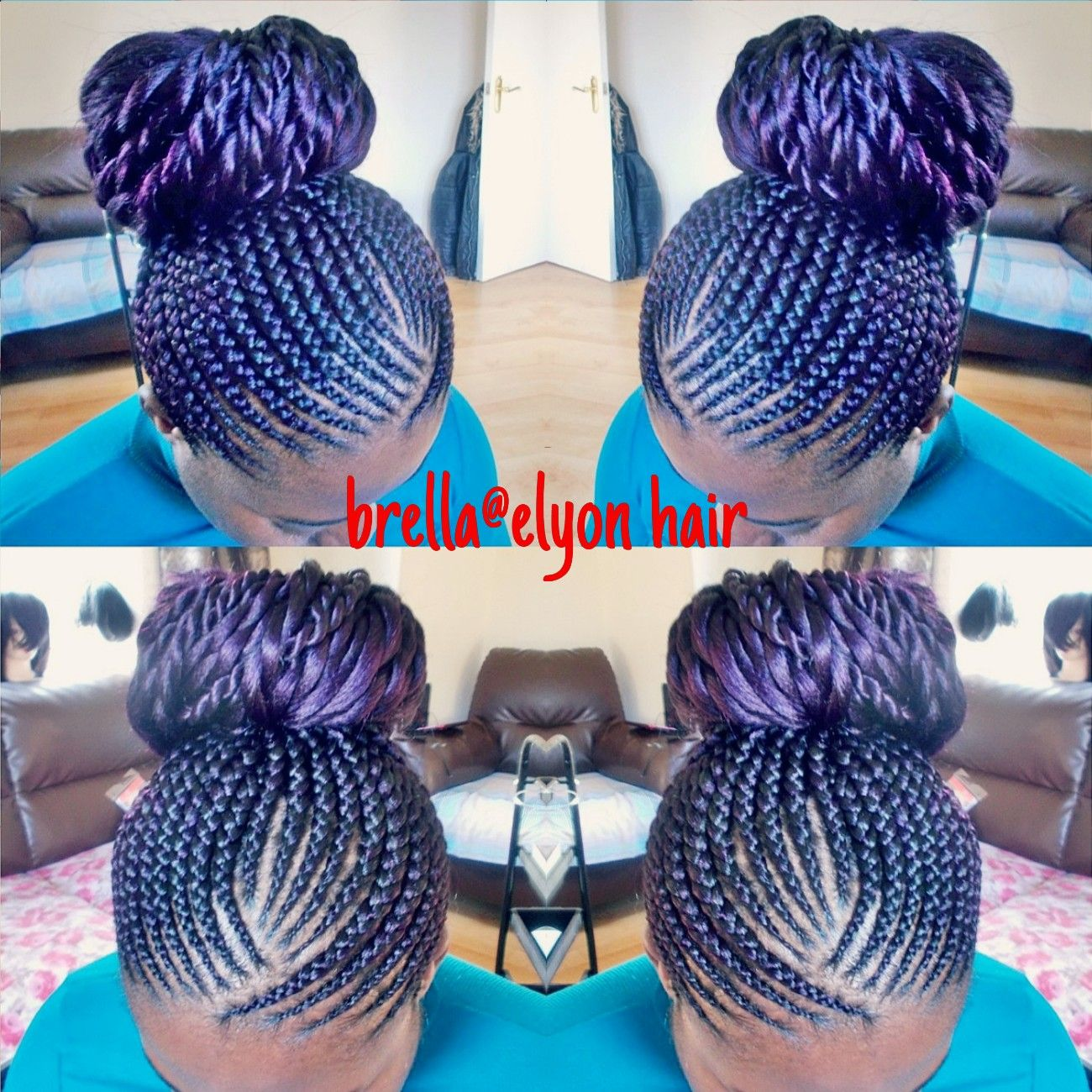 Magnificent Invisible Cornrow Braids Done With Color Purple Xpression Hair Short Hairstyles Gunalazisus