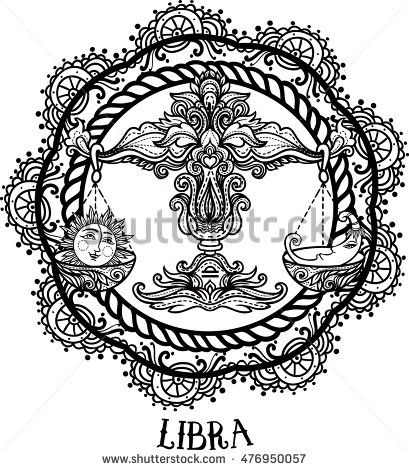 detailed libra in aztec filigree line art zentangle style tattoo coloring page for adult