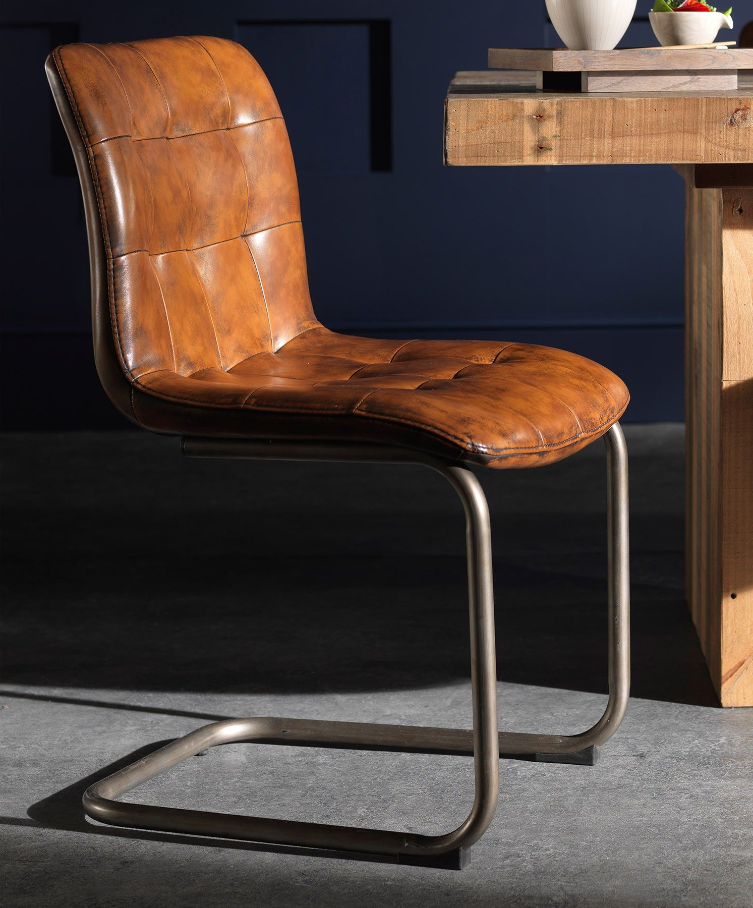 Vintage Button Leather Dining Chair Vintage Leather Chairs