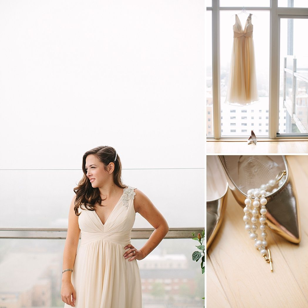 A vintage warehouse wedding along the shores of Lake Michigan.  The stunning loft space features beautiful floor to ceiling that let in tons of natural light. | Wedding Featured On Midwest Bride. Anne Barge Wedding Gown. Photos By Lisa Mathewson