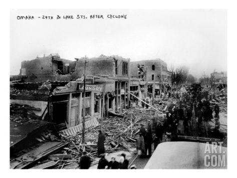 Omaha 24th Street And Lake Street After Cyclone Nebraska 1900 Photo Lake Nebraska