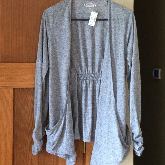 Cardigan Long sleeve cardigan, grey, ruched sleeves, sinched detailed back Maurices Sweaters Cardigans
