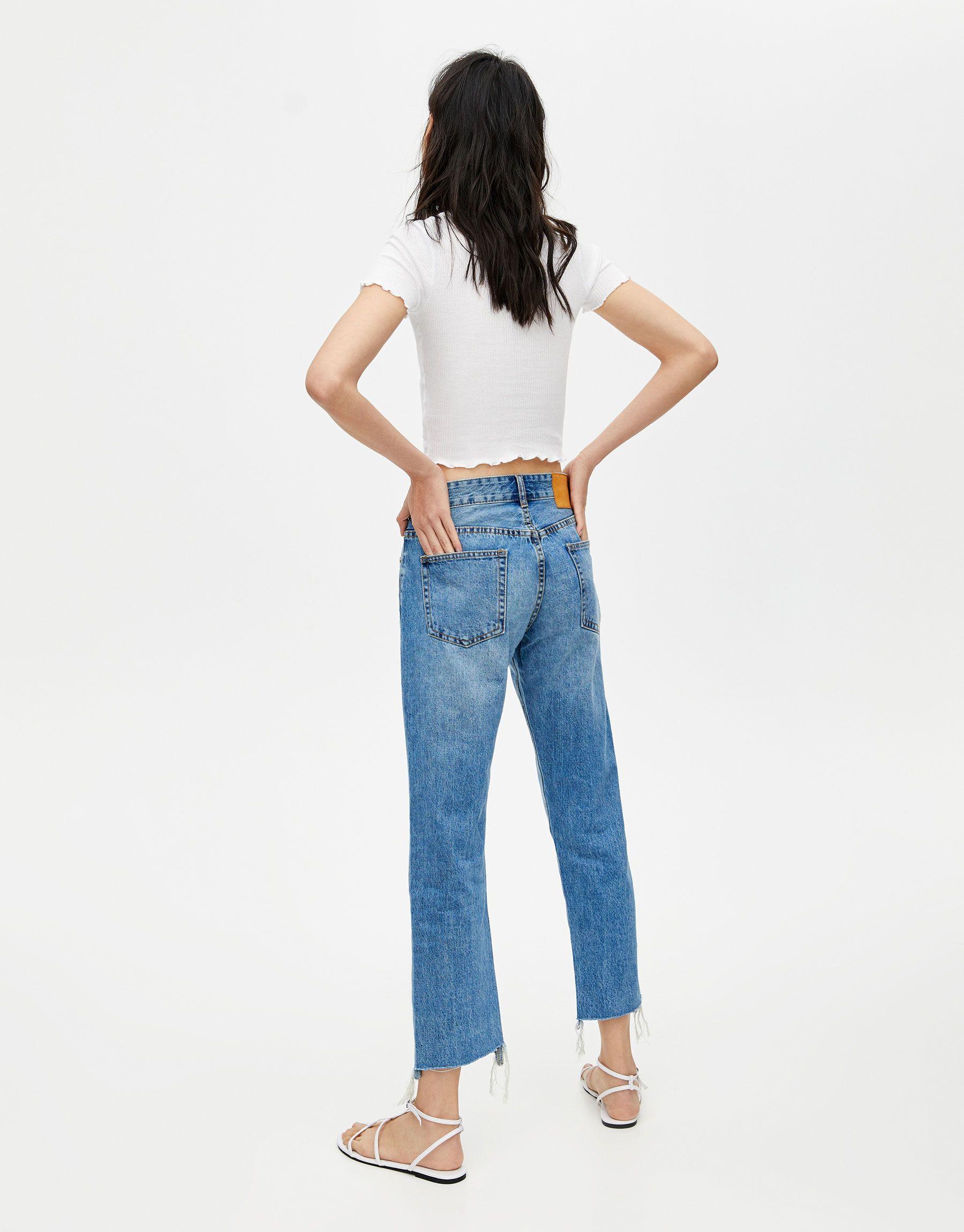 Pull Bear Female Jeans Rectos Rotos Rodilla Azul 42 Jeans Rectos Jeans Jeans Mujer