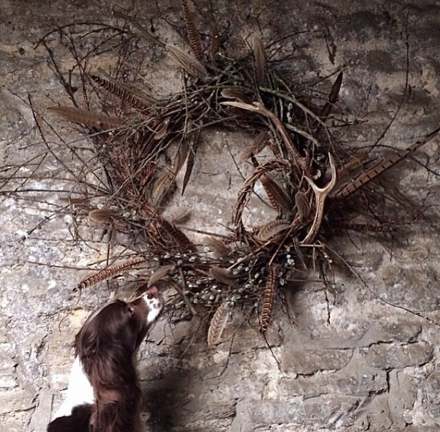 Beautiful antler wreath from Tattie Rose Flowers www.tattieroseflowers.co.uk