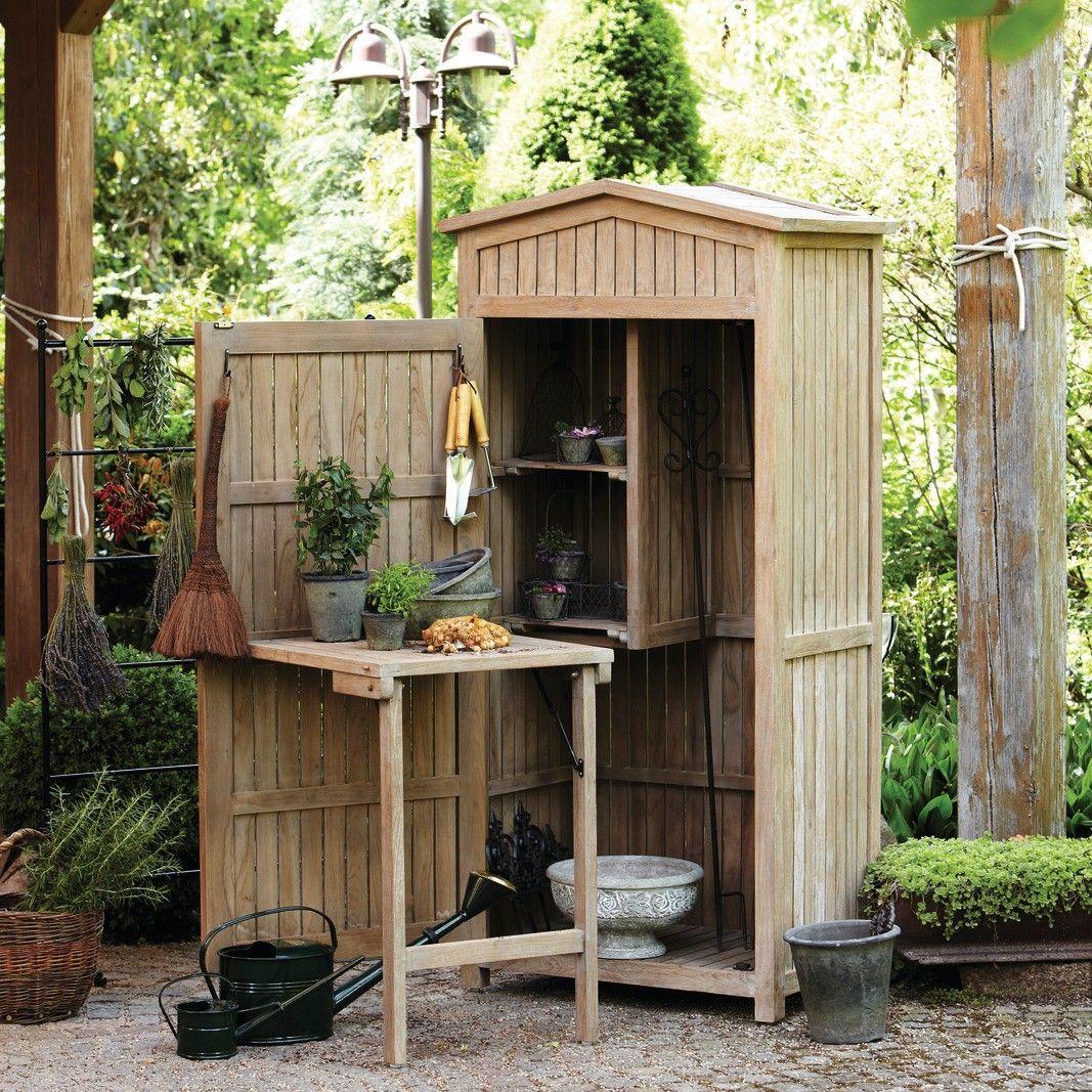 Teak garden cabinet w retractable table mirabeau sheds for Garden shed jokes