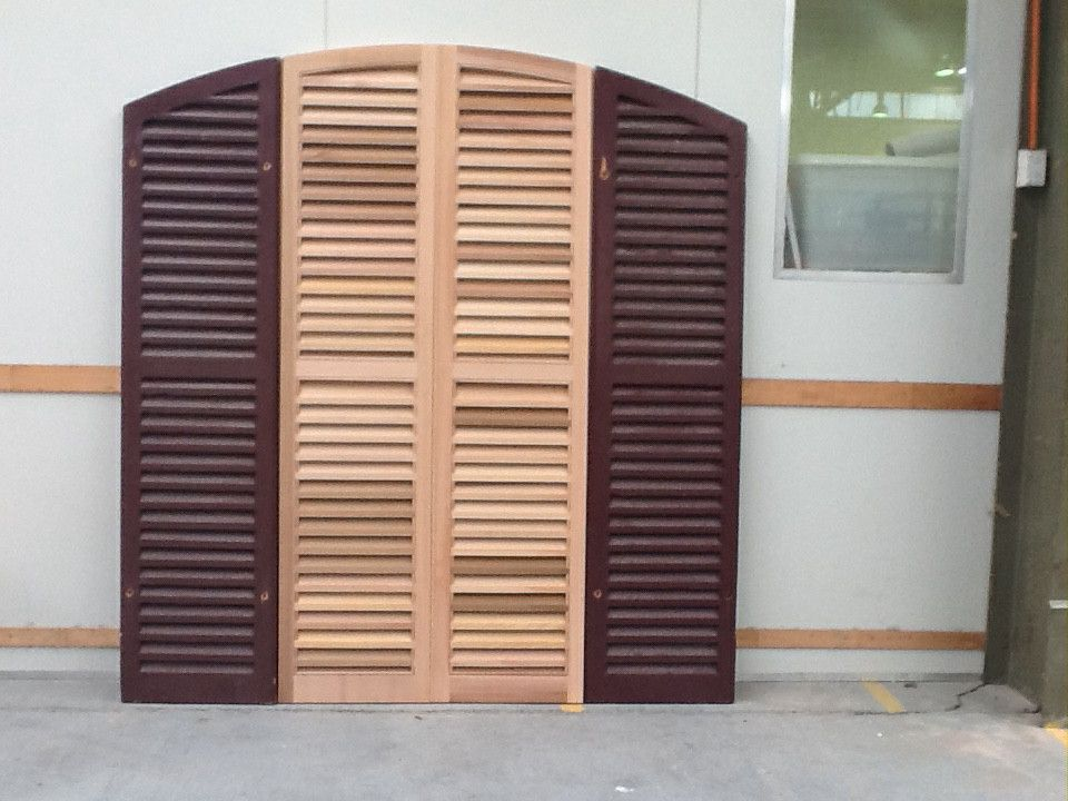 The brief was to make new shutters to blend with the existing ones.The two centre shutters had been stolen,so the new ones were handcrafted to complete the opening. They will be painted.