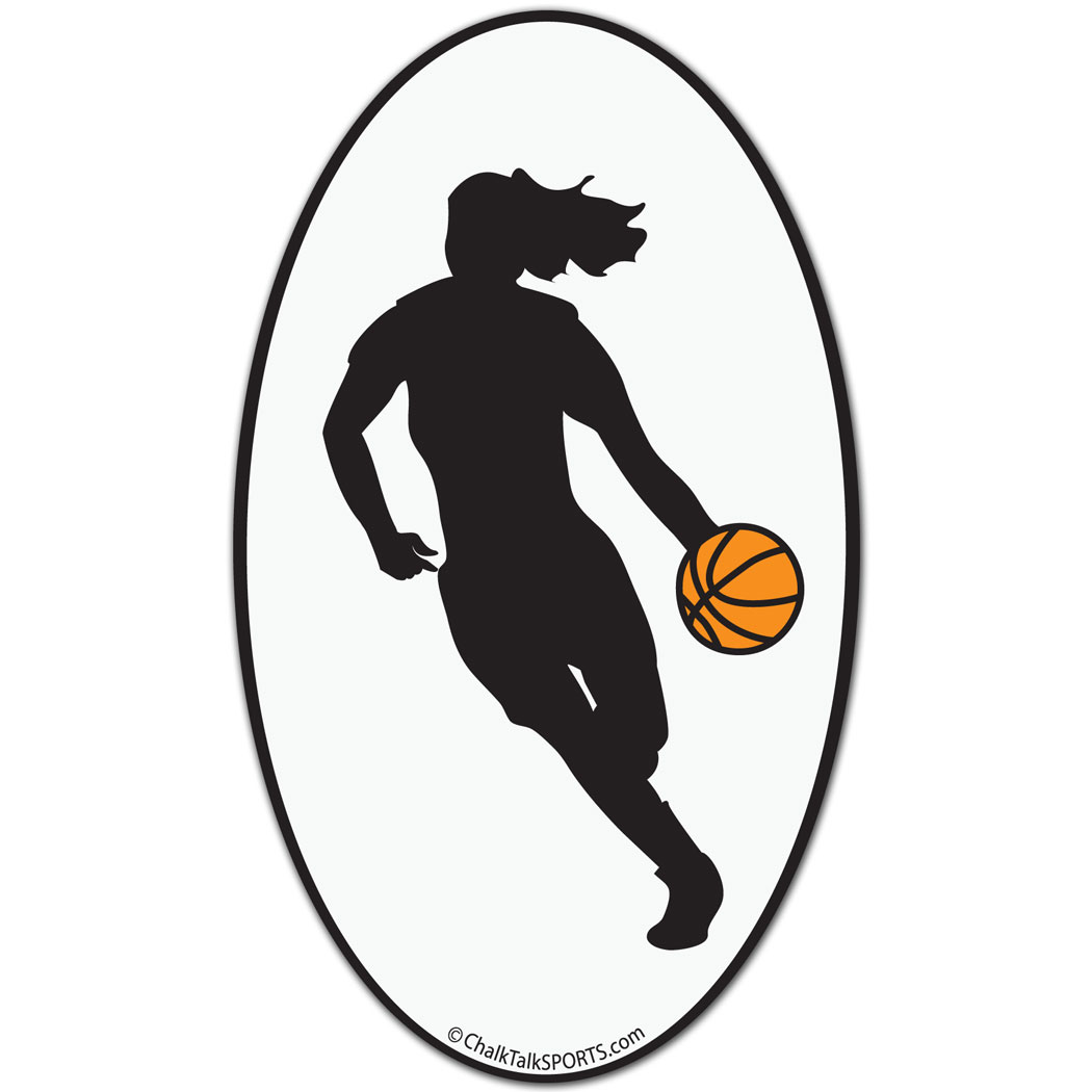 Basketball Girl Oval Car Magnet Black SilhouettePlotter Sport - Custom basketball car magnets
