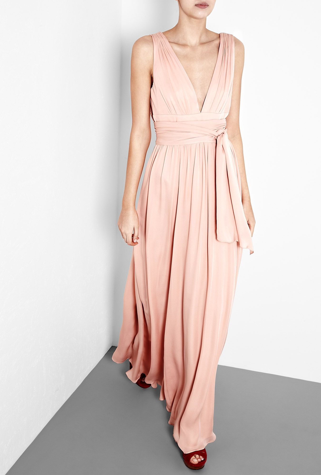 Bisque ultimate silk goddess gown by halston heritage maids