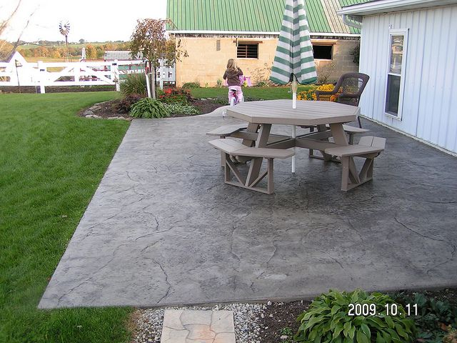 Backyard Concrete Patio Ideas find this pin and more on backyard porch give a little touch with concrete patio paint ideas Cement Patio Designs Stamped Concrete Patio By Swiss Village Concrete Flickr Photo