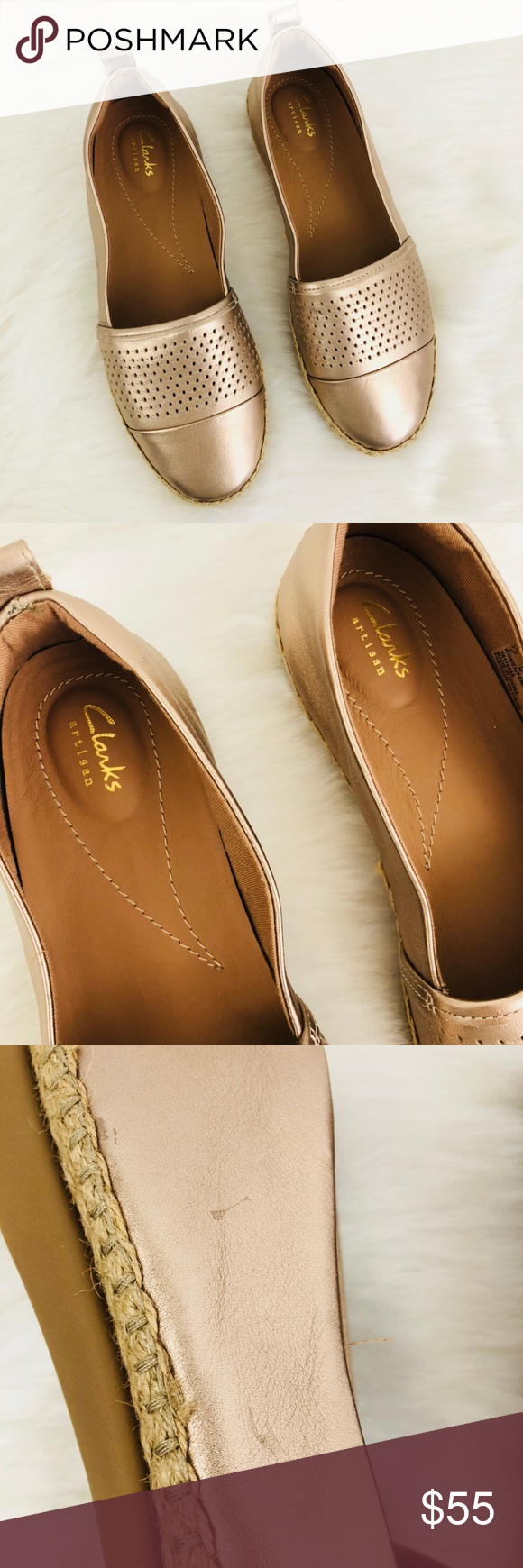 dd6e8d08b4a3 Clarks Artisan Reeney Helen Rose Gold Flat New without tags and box. Rose  gold leather. Espadrille Flat. Does have some markings pictured. Clarks  Shoes ...