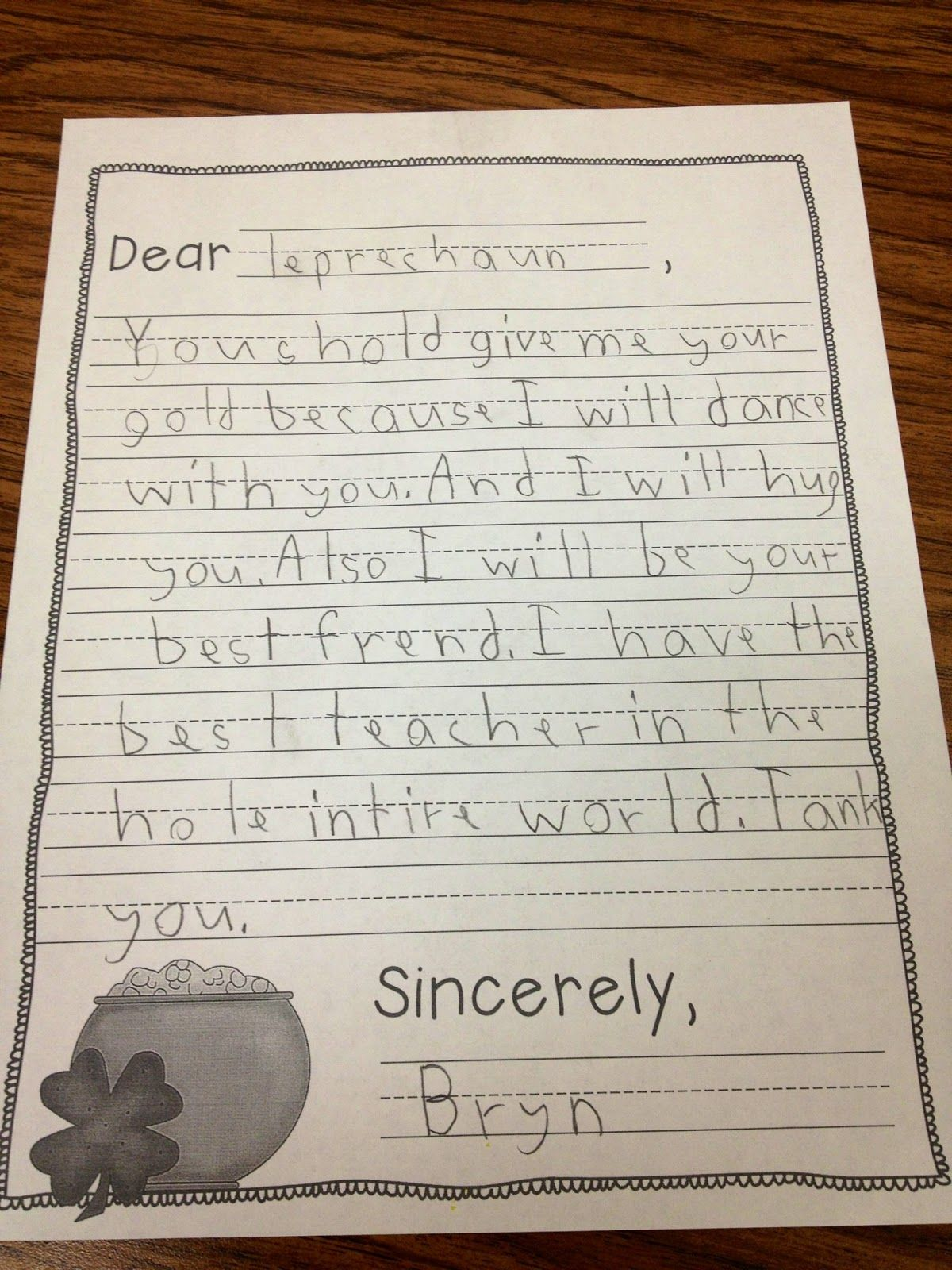 Letters To A Leprechaun Students Persuade A Leprechaun