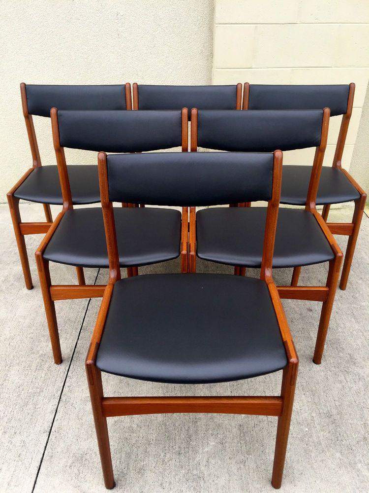 Set Of Six Midcentury Danish Modern Dining Chairs Ebay With