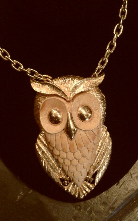 I love this! - Unsigned Razza Goldtone and Resin Owl Necklace by WilburVintage