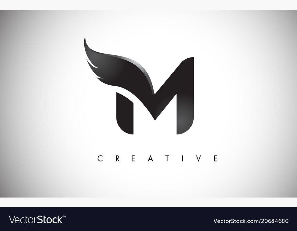 M Letter Wings Logo Design Icon Flying Wing Letter Logo With Creative Black Wing Concept Download A Fr Camera Logos Design Logo Design Set Letter Logo Design