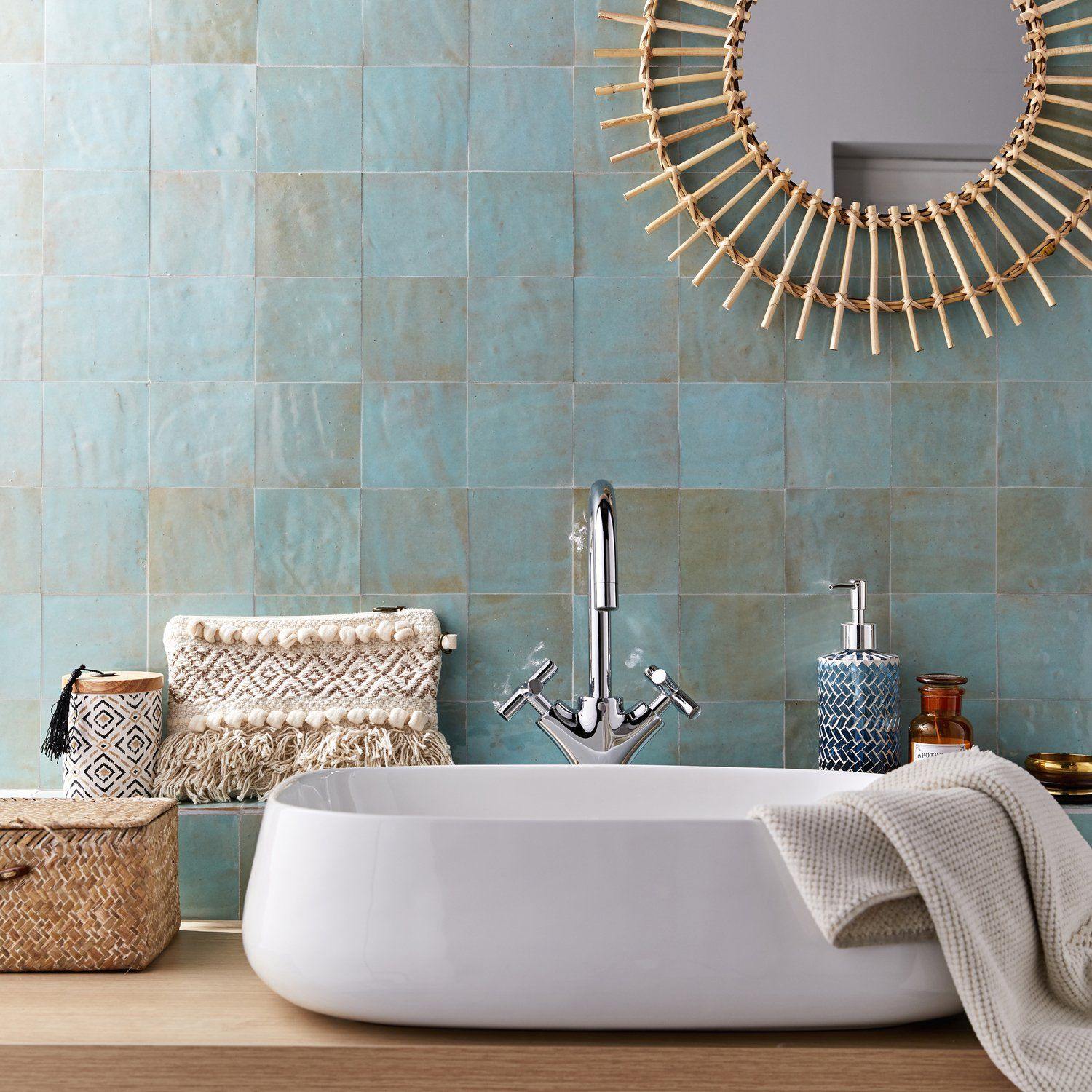 """Carrelage Metro Sans Joint shattered pearl zellige 4""""x4""""x3/8"""" in 2020 