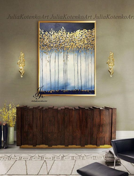 Large Abstract Oil Painting, Gold Leaf Art, Large Wall Art, Canvas Art, Golden Trees Original Painting Abstract Painting by Julia Kotenko